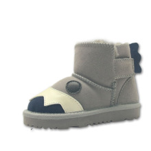 Cute Grey Ankle Boots Girls with Animal Faces