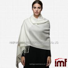 Lenço de lã de caxemira liso, cachecol de cor sólida branco, lenço de lã pashmina cashmere