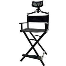 Складной высокий черный алюминиевый профессиональный косметический стул для макияжа