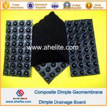 Membrana impermeável da drenagem do HDPE com o geotêxtil não tecido