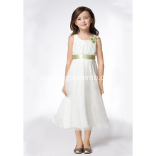 A-line Leher Bulat Tea-length Satin Organza Pita Flower Girl Dresses