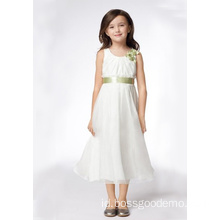 A-line Round Neck Tea-length Satin Organza Pita Flower Girl Dresses