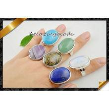 Charm Gemstone Druzy Ring in Mixed Color, Oval Shape Druzy Stone Finger Rings Adjustable (FR002)