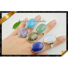Шарм Gemstone Друзи кольцо в смешанном цвете, овальной формы Друзи камень Кольца палец Регулируемая (FR002)