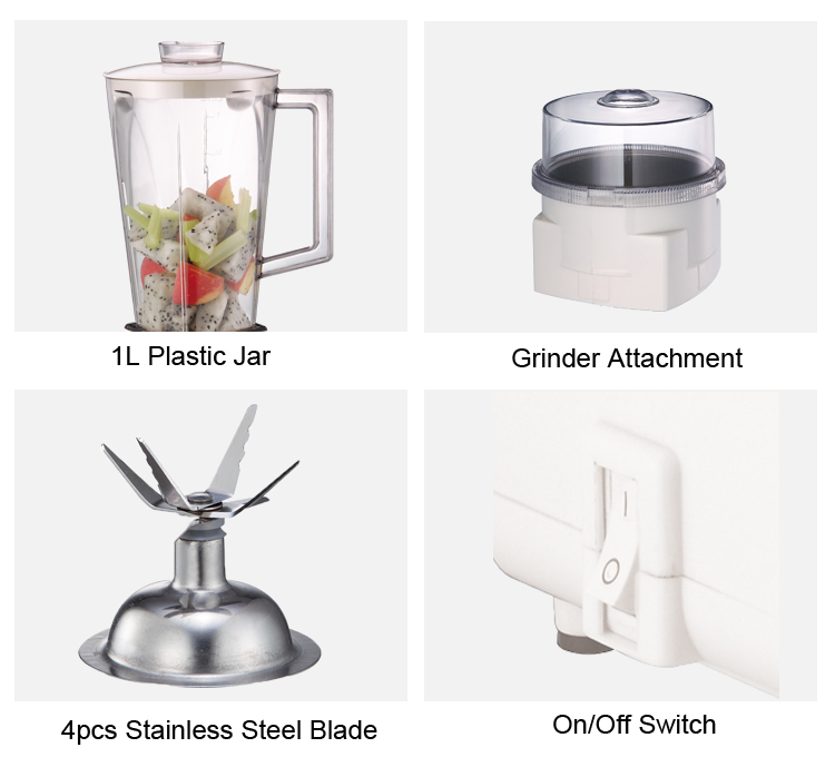 White Table Blender With Coffee Grinder Attachment