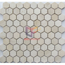 Matt Face Beige Hexagon Marble Made Mosaic (CFS1007)