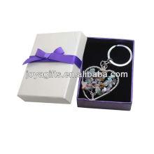 Chip piedra tejida forma de corazón Lucky árbol colgante llavero con caja de regalo
