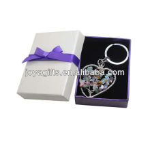 Chip stone Woven Heart Shape Lucky tree Pendant Keychain with Gift Box