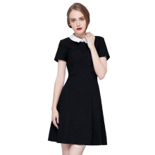 Kate Kasin Retro Vintage Short Sleeve Doll Collar High Stretchy Party Picnic Black Dress KK000388-1