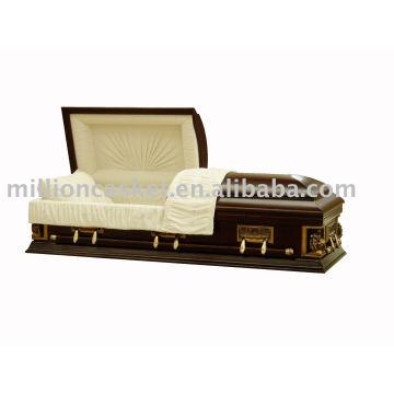 Cercueil de peuplier massif couleur noyer rouge