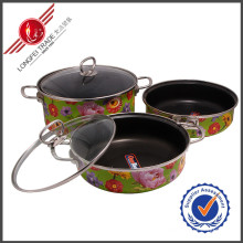Jogo do Cookware do esmalte de Kitchenware de 3 PCS