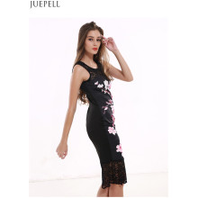Women′s Sleeveless Dress Lace Stitching Long Paragraph Slim Package Hip Skirt Summer Flower Printed Lady Dresses