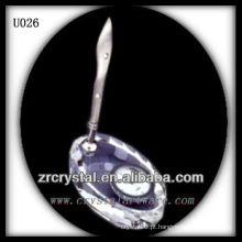 K9 Crystal Pen Holder com Relógio de Prata
