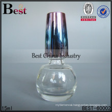15ml round Nail polish bottle with colored cap ,OEM glass bottle wholesale, empty glass nail polish bottles