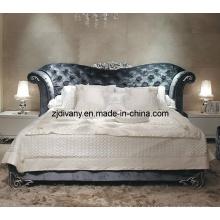 Neo-Classical Style chambre meubles maison en bois tissu lit (LS-411)