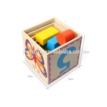 Venda quente cinco camadas bloco de madeira cubo 3d
