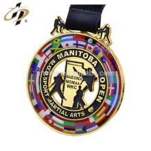 Plaque en alliage de zinc personnalisée plaqué karaté challenge médaille en métal
