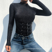 Long Sleeve Casual Bodysuit with PU belt