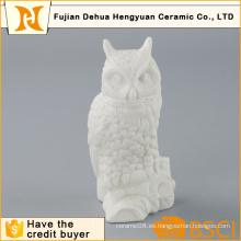 Decoración para el hogar Artesanía de búho de cerámica blanca