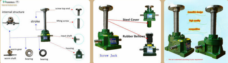 Worm gear machine screw jack for industry lifting