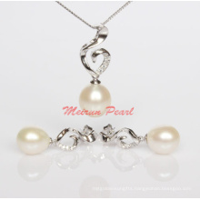 925 Sterling Silver Natural Freshwater Pearl Pendant + Pearl Earrings Jewelry Sets (ES1322)