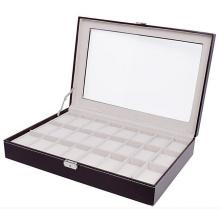 Boîtier de montre de bijoux Grid Brown 24 (HX-A0757)