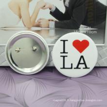 Boutons de bouton d'étain blanc bon marché Boutons d'insigne personnalisé de gros matériel / bouton Badge