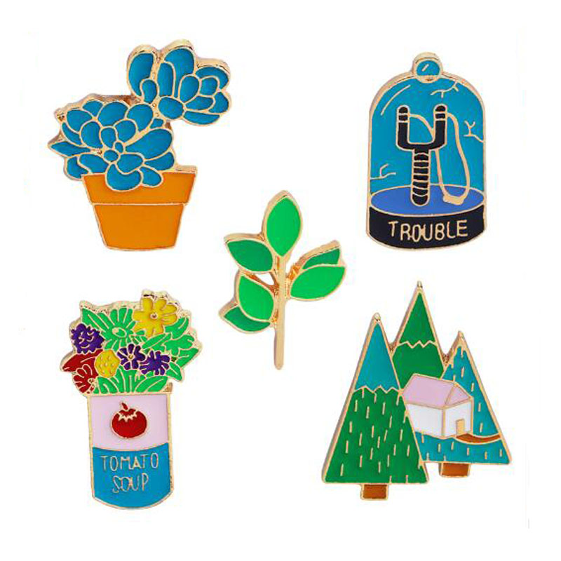 Fashion Brooch Pins Plant Cactus Plant Leaf Forest Flowers Metal Soft Enamel Lapel Pin For Girl Women Broches Collar Badge