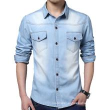 Camisas de manga larga de mezclilla de los hombres OEM de fábrica