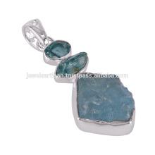 925 Sterling Silver e Apatite, Aquamarine rough Pendant
