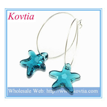 2014 new products blue crystal star dangle sterling silver hoop earring