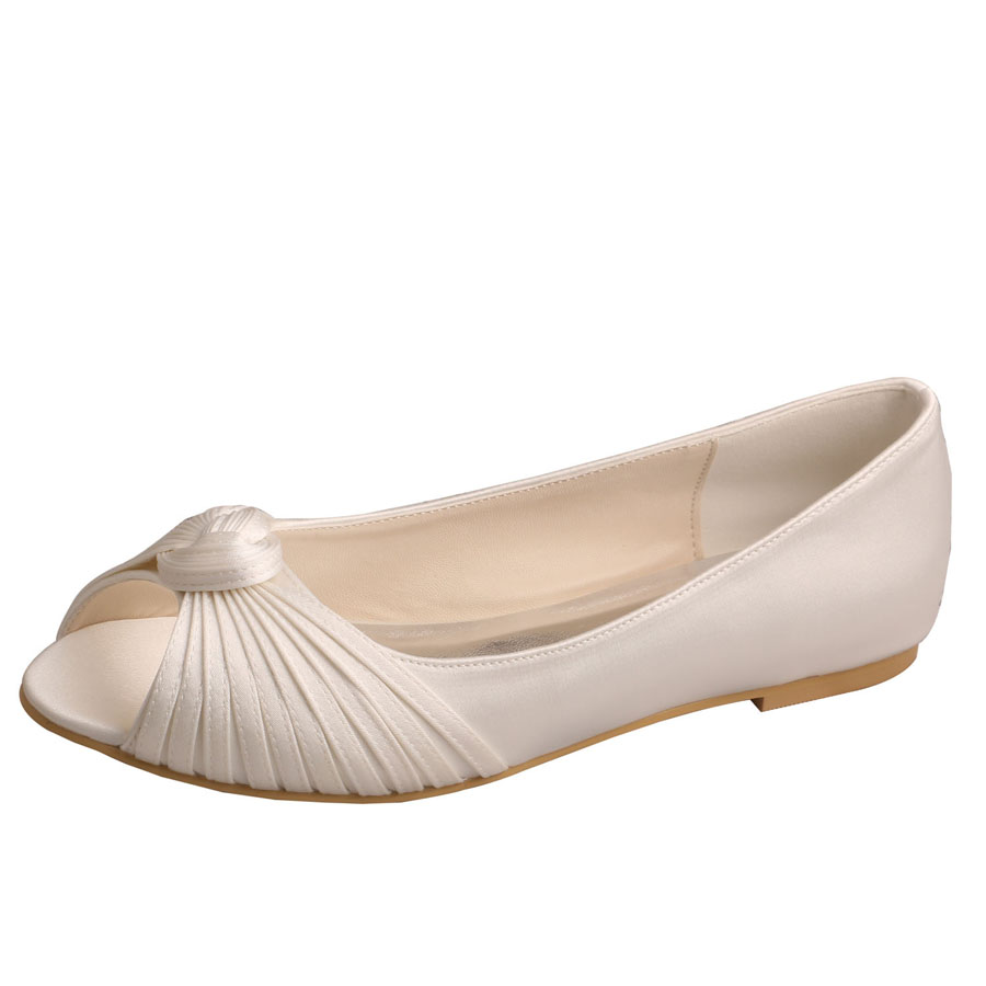 Ivory Bridesmaid Flat Shoes Peep Toe