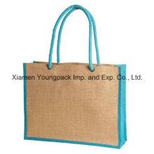 Two Tone Eco-Friendly Jute Burlap Shopping Tote Bag