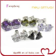 Fashion piercing jewelry stainless steel zircon crystal stud earring /fancy stud earring