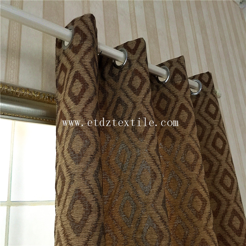 6016 Popular Chocolate 100% Polyester Linen Like Jacquard Curtain Fabric