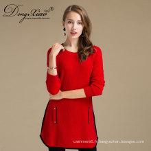 Coutume de tricot de couleur rouge d'hiver d'automne pour les femmes fantaisie long chandail de laine de cachemire avec deux poches