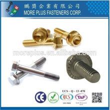 Taïwan en acier inoxydable Zinc Jaune Patch Nylon Patch DIN6921 Indent Hex Serrated Full Thread Flange Bolts