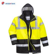 Veste de circulation imperméable de pluie de Salut-Vis, vêtements de sécurité de travail de visibilité élevée avec des poches EN20471 classe 3