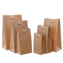 Blank Plain Grocery Food Packaging Small Block Bottom Brown Kraft Paper Bags No Handles