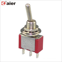 MTS-102 6A 6MM Single Pole ON ON 2 Way Standard Toggle Switch 3 Pin