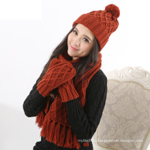 Factory supply woolen yarn Warm Thick Cable Knitted Hat Scarf & Gloves Winter Set