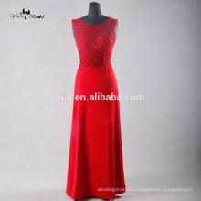 TE003 Elegant Red See Through Back Illusion Soft Chiffon Prom Dress