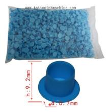 1000 copos de tinta de tatuagem de plástico azul / copos de pigmento