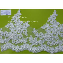 Swiss Lace Fabric with Flower Embroidery Sequined Hem Lace for Garment CTC361B