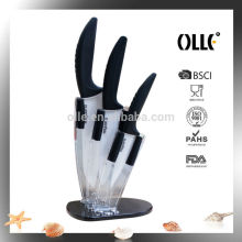 ABS Plastic Handle Ceramic Cookware Kitchen Knife Set Wholesale with Acrylic Block