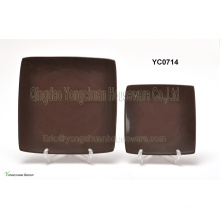Brown Color Square Plate Set