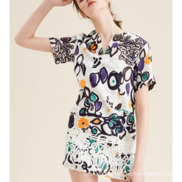 Summer Fashion Latest Printed Jacquard Scrawl Short Sleeve Women′s Dress