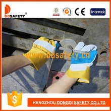 Grey Cow Split Blue Leather Reinforced Glove Yellow Cotton Back Safety Gloves Dlc324