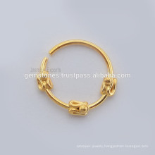 Wholesale Handmade 925 Sterling Silver Nose Ring Suppliers, Handmade Designer Gold Plated Septum Nose Ring Jewelry
