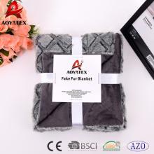 Polyester hochgewichtige warme Kunstpelzdecke mit Micromink Rücken